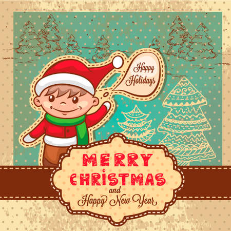 Vintage Retro Christmas Card With  Cute Santa Helper. Vector