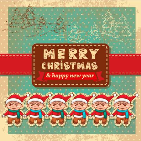 Vintage Retro Christmas Card With  Cute Santa Helper. Vector