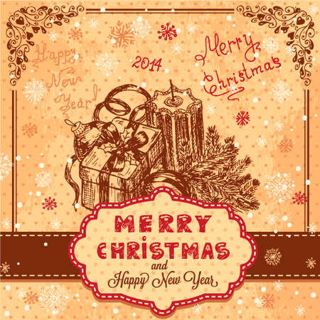 Vector Vintage Christmas Card for Holiday Design  Vector