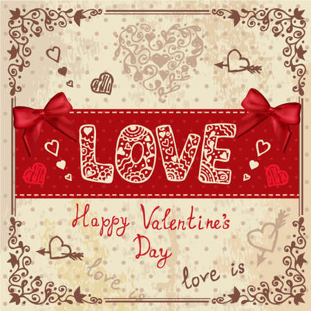 Vintage Valentines Day Design  Vector Illustration  Vector