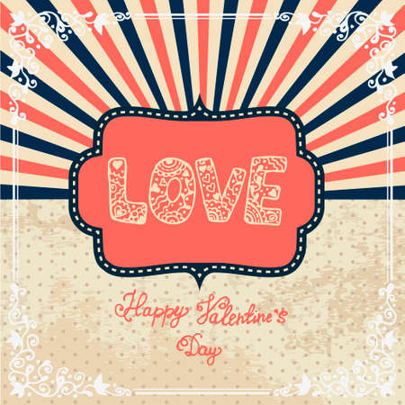 Vintage Valentines Day Design. Vector Illustration. Vector