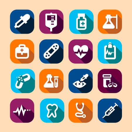 Long Shadows Medical Vector Icons Set. Stock Vector - 24624905