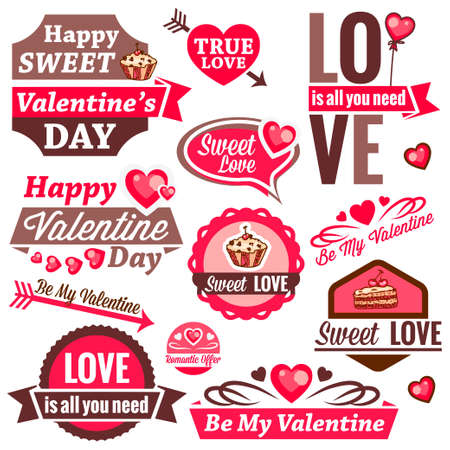 Valentine`s Day Vector Set - labels, emblems and other design elements. Vector