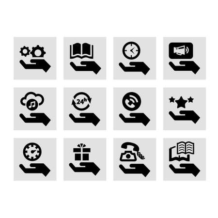 Hand Concept Icons Set. Vector