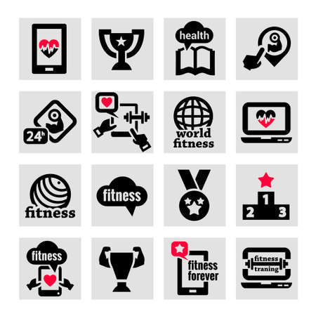 Elegant Fitness and Health Icons Set. Vector