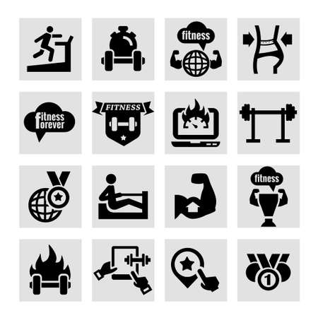 simbolo de la mujer: Elegante Fitness y Salud iconos Set. Vectores