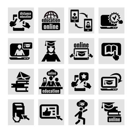 Elegant Education Concept Icons Set. Vector