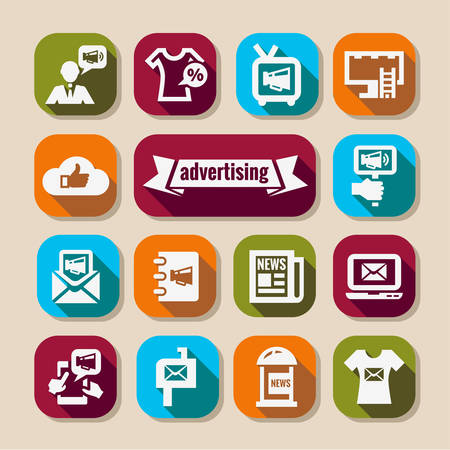 Elegant Marketing and Advertisement  Icons Set. Vector
