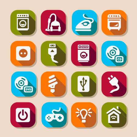 button batteries: Electronic Devices Icons Set for web and mobile.