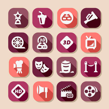 cine: Elegant Movie Icons Set Created For Mobile, Web And Applications.
