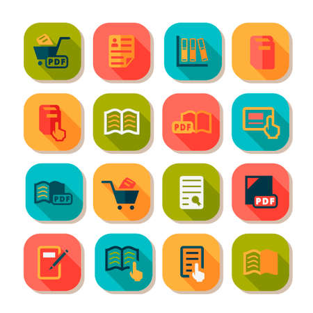 multimedia icon: Books Vector Flat Icon Set for web and mobile.