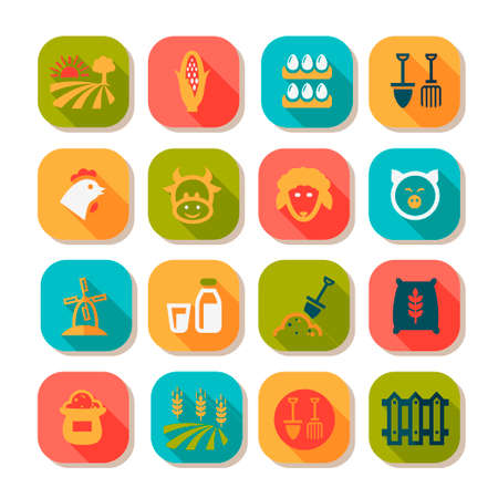 Flat Farm Icon Set for web and mobile. Vector