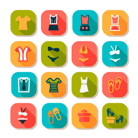 shopaholics: Flat Fashion Icons Set Created For Mobile, Web And Applications.