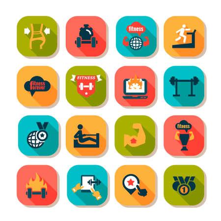 icone sanit�: Elegante Fitness e Salute Icone Imposta.