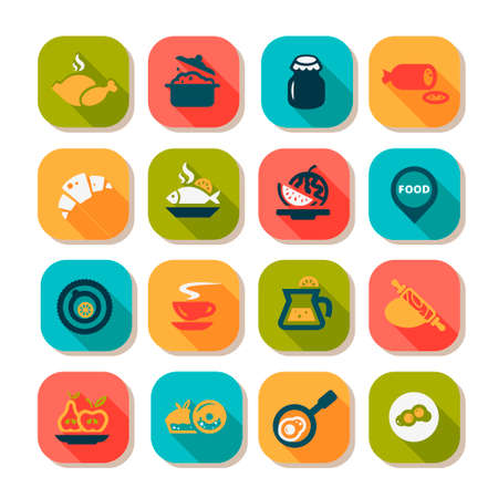 continental food: Flat Food Icons Set Created For Mobile, Web And Applications.