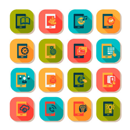 mobile icons: Flat Vector Mobile Icons Set.