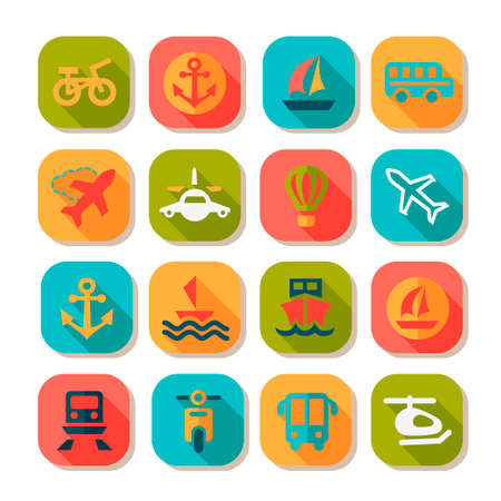Elegant Flat Transportation Icons Set Created For Mobile, Web And Applications. Vector