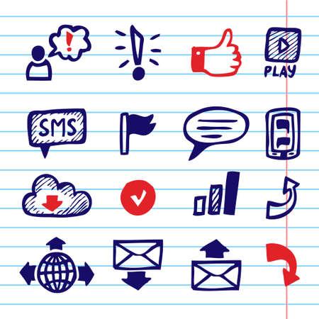 Hand Drawn Vector Illustration Set of Social Media Sign and Symbol.