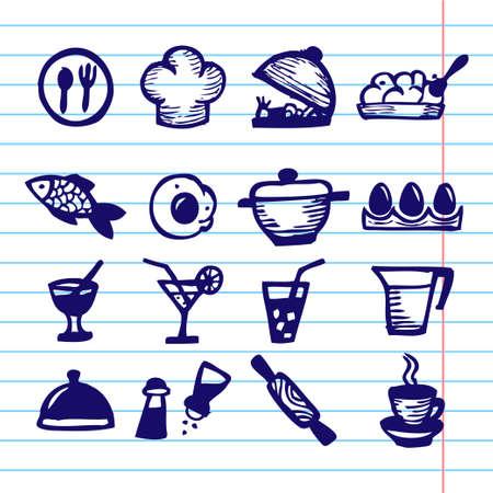 continental: Hand Drawn Vector Illustration Set of Social Media Sign and Symbol.