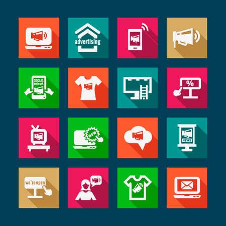 direct marketing: Flat Marketing and Advertisement  Icons Set.
