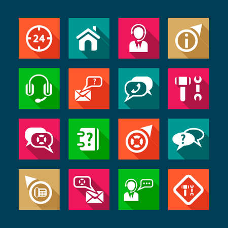 conversation icon: Help and Support Flat Icons Set for web and mobile.