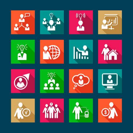 corporate hierarchy: Risorse Umane piatto Icon Set per il web e mobile. Tutti gli elementi sono raggruppati. Vettoriali