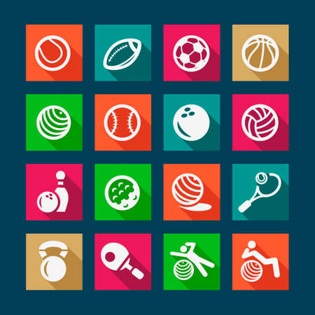 Fitness and Sport Flat Icons for web and mobile. Vector