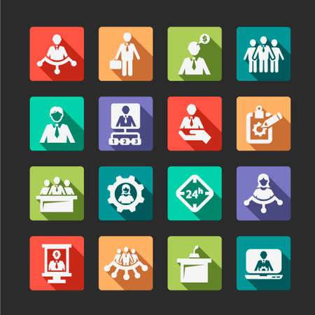 Flat Business, Management and Success Vector Icons Set. Vector