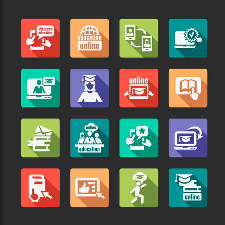 Flat Education Concept Icons Set. Vector