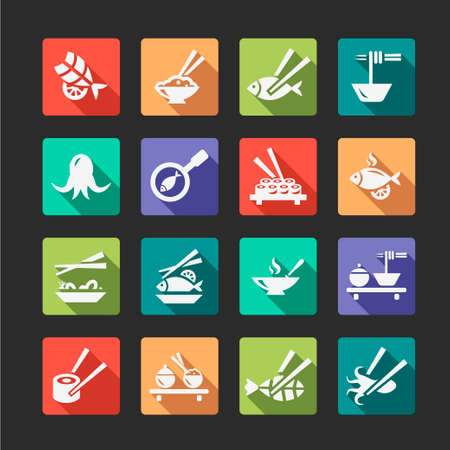 Flat Seafood Icon Set Vector