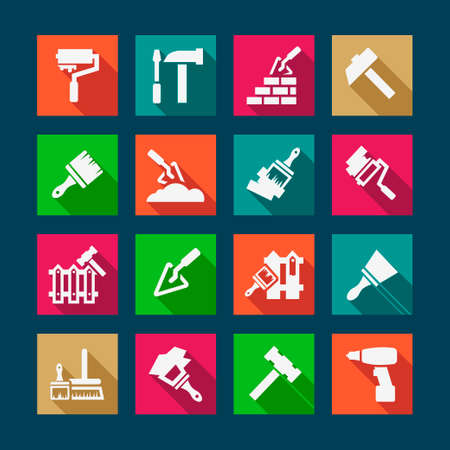 traffic barricade: Flat Construction And Repair Icons Set Created For Mobile, Web And Applications.
