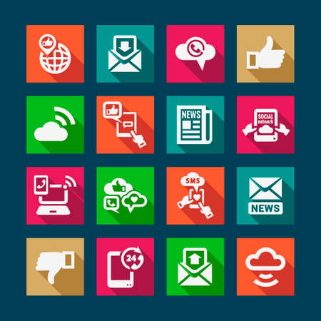 Flat Communication Icons Set for web and mobile. Vector
