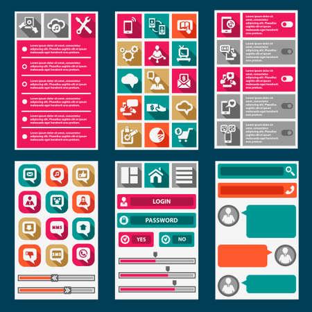 Flat Mobile Interface. Design Elements.