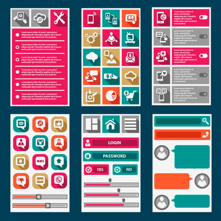 Flat Mobile Interface. Design Elements. Vector