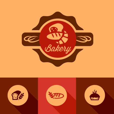 Illustration of Bakery in Flat Design Style. Vector