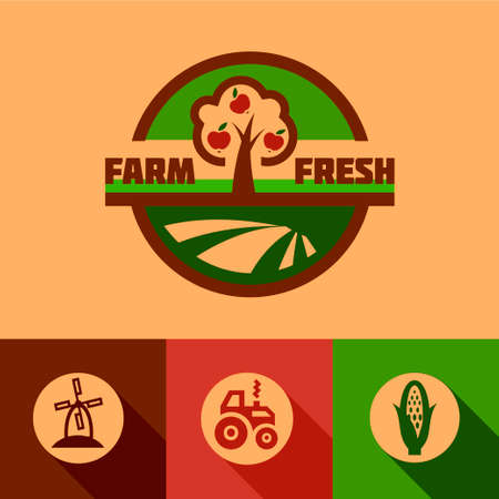 Farm fresh labels. Organic Farming isolated vector sign set. Stock Illustratie