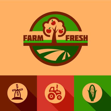 tractor: Farm fresh labels. Organic Farming isolated vector sign set. Illustration