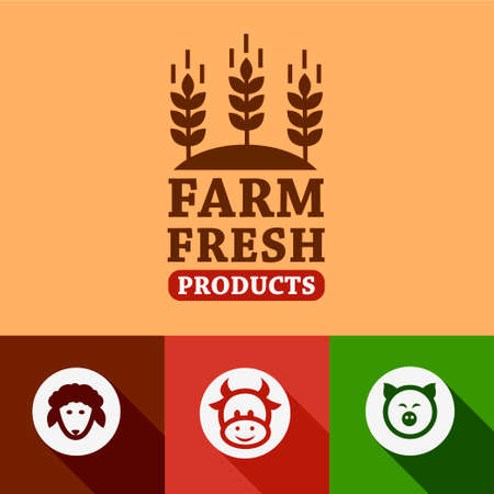 Flat Farm fresh labels. Organic Farming vector sign set.