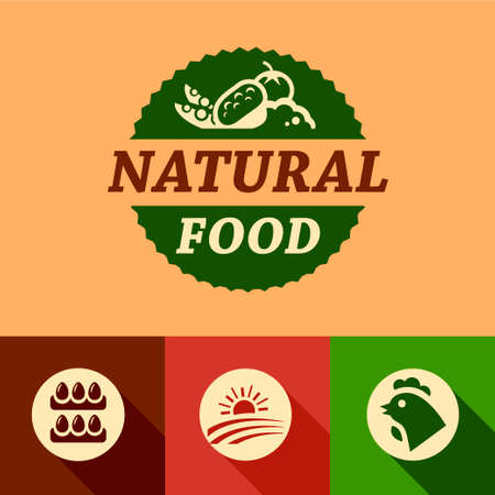 Flat Farm natural food labels. Organic Farming isolated vector sign set. Vector