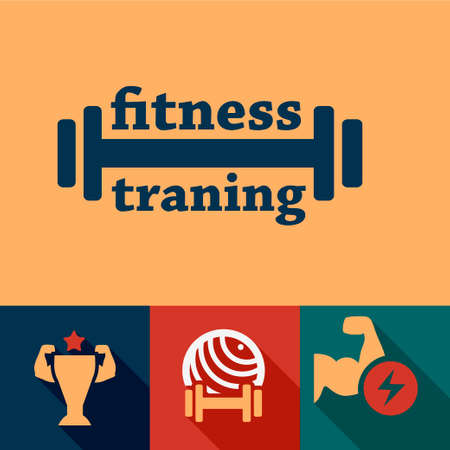 Elegant Fitness and Sport Design Elements. Vector