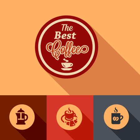 retro restaurant: Illustration of Coffee in Flat Design Style. Illustration