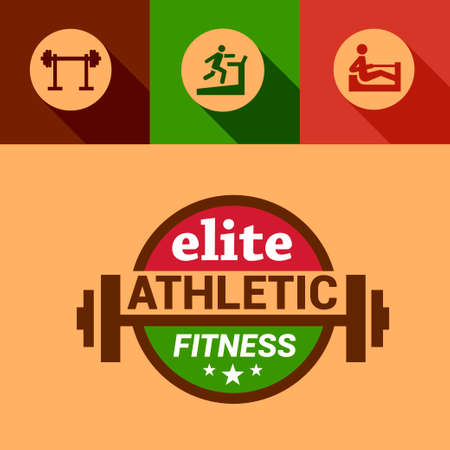Flat Fitness and Sport Design Elements. Vector