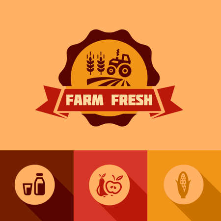 Flat Farm fresh labels. Organic Farming vector sign set. Vector
