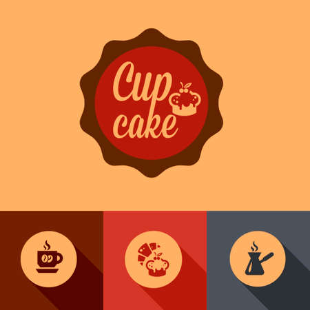 retro restaurant: Illustration of Coffee Cup Cake in Flat Design Style.
