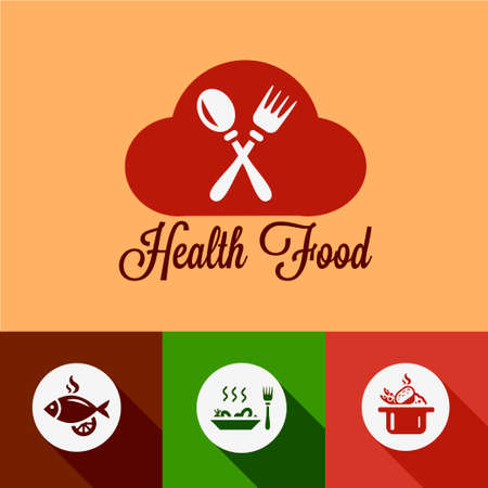 Healthy Food Design Elements in Flat Design Style. Vector