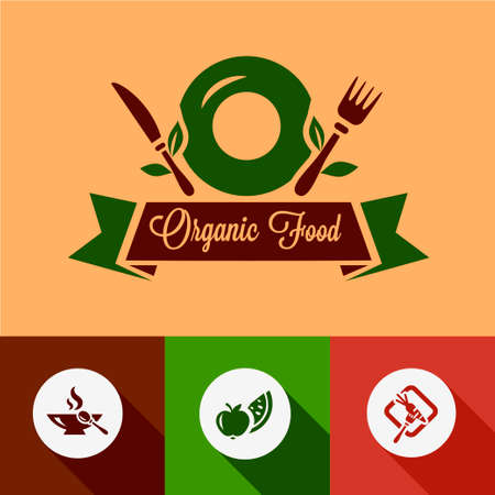 Organic Food Design Elements in Flat Design Style. Vector