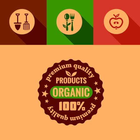 Organic Products Design Elements in Flat Design Style. Vector
