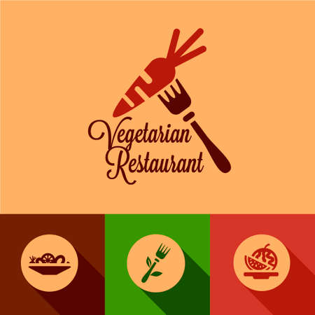 Vegetarian Restaurant Design Elements in Flat Design Style. Vector