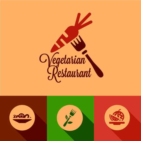 simple meal: Vegetarian Restaurant Design Elements in Flat Design Style.