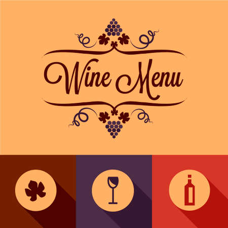 Wine Menu Elements in Flat Design Style. Vector